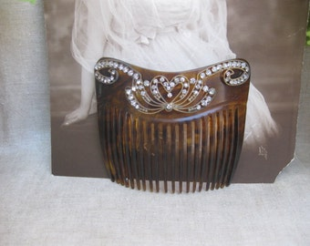 Gibson Girl Rhinestone Hair Comb....Wedding....Bridal...Hearts and Ribbons...Titanic...