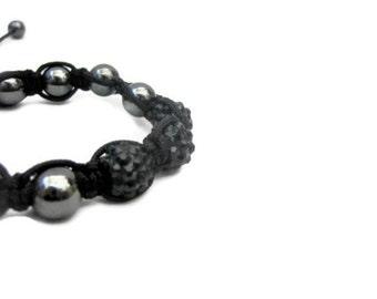 Bracelett, Adjustable,  Black, Trendy, Handmade, Bohemian, Beaded, Macrame Bracelet