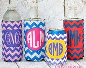 Personalized Monogrammed Chevron Print Coosie or Hugger Water bottle or Can