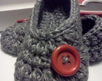 Women's Crochet Gray Slippers | Gray Crochet Slippers | Hand Crochet Slippers | House Shoes | Crochet Booties | Slippers
