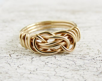 12k Gold Love Knot Ring-  Yellow Gold Jewelry - Gold infinity knot ring - Friendship Jewelry