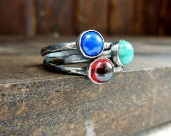 Gemstone Stacking Rings- Sterling Silver Jewelry , Oxidized Sterling Silver Rings- Birthstone Jewelry,  Set of Three