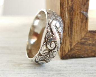 Wide Wedding Band- Sterling Silver Ring- Scroll Floral Imprinted Stacking Ring