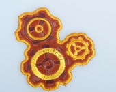 Leather embroidered steampunk gears patch copper gold bronze