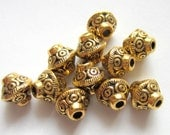 40 Antique gold beads tibetan spacer beads 7mm x  6mm jewelry supplies F1152-X-2