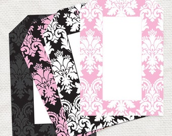 pink and black damask gift tags - printable - wedding favor tags, baby shower tags, place cards, decorations, elegant pattern, label, diy