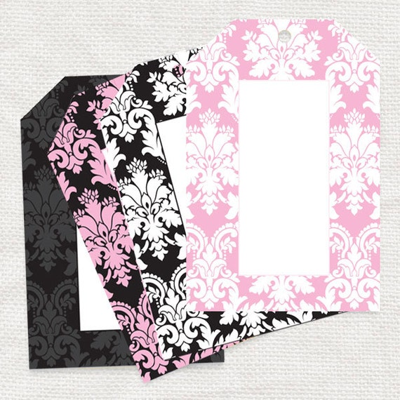 elegant damask gift tags - printable gift tags digital file - pink and black damask wedding