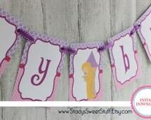 Rapunzel Inspired Birthday Banner, DIY, Printable, Instant Download