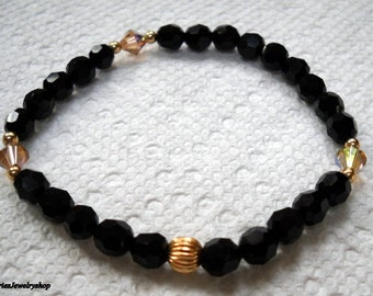 Handmade with Jet Black Swarovski Crystal Stretch Bracelet with Light Colorado Topaz Bicones and Goldfilled Accents