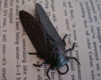 Gothic Rare Dark Cicada Bug Necklace Supply, Hand Made Pendant, NOT RAW Jewelry Supply, Insect Bug USA Metals, Ring Added