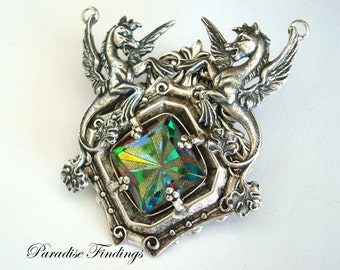 Fantasy, Renaissance, Medieval, Winged Horse Necklace Supply, Jewelry Pendant, Metal Bonded, NOT GLUED, Custom Handmade with Colorful Jewel