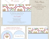Apple Baby Shower Invitations, Boy Shower, Baby Blue and Red Shower, Whimsy Shower Invites, Sweet Baby Shower, Brunch Invitations