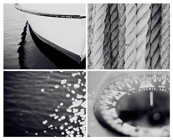 Nautical photograph set 8x10 set of four nautical fine art black and white modern art print vintage wall art