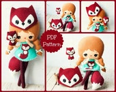 PDF. Fox girl with mask and puppet .Plush Doll Pattern, Softie Pattern, Soft felt Toy Pattern.