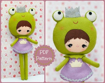 Princess frog doll. Plush Doll Pattern, Softie Pattern, Soft felt Toy Pattern.