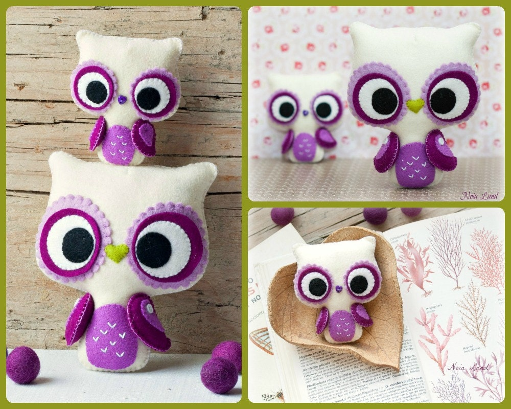 PDF. Big eyes owl and small owl brooch. Plush Doll Pattern ...