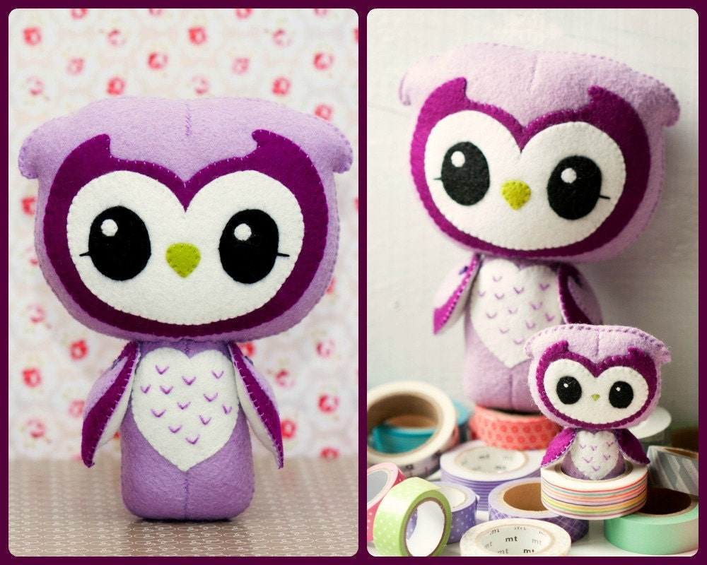 PDF. Wise owl and small owl brooch. Plush Doll Pattern Softie