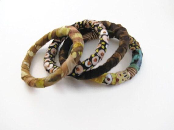 Bangle Tribal Bracelets in Browns Yellows Greens Boho Summer