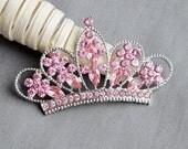 Rhinestone Button Embellishment Pink Crystal TIARA CROWN Bridal Wedding Brooch Bouquet Wedding Invitation Headband BT541 BT