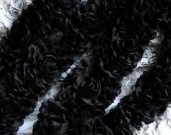 1 Yard Chiffon Rose Lace Trim Appliqué Black Bridal Wedding Camellia Ruffled Flower Hair Comb 3D LA021