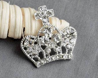 5 Rhinestone Button Brooch Embellishment Crystal Cross TIARA CROWN Wedding Brooch Bouquet Invitation Cake Hair Comb Clip BT543