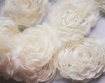 1 Yard Chiffon Rose Lace Trim Appliqué Ivory Cream 3D Bridal Wedding Camellia Ruffled Flower FREE Combine Shipping LA086