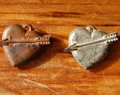 Vintage Heart Cupid Charm Pair Gumball Cracker Jack Arrow Valentine's Day Gift