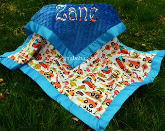 Baby Boy Blanket- Dig It Construction - Royal Blue Minky - Satin Binding-Personalized/Applique - Multiple Sizes