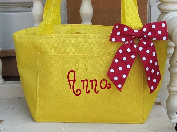 Monogrammed Bright Yellow Insulated Lunch Bag Box Cooler Personalized