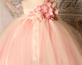 Vintage Rose- One Shoulder Tutu Dress