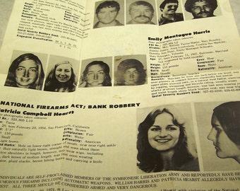 SALE Vintage Patty Hearst Original FBI Wanted Poster SLA