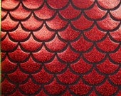 Red Holographic Fishscale on Black Nylon Stretch Lycra Fabric
