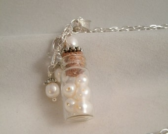 Tiny Fresh Water Pearl Glass Vial Necklace with Pearl and Crystal Glass Bead Charms