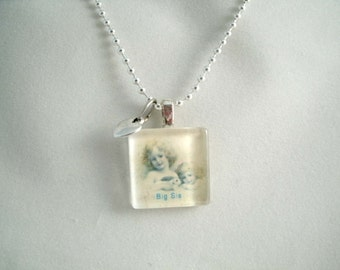 Big Sis Glass Pendant Sister Necklace with tiny heart charm