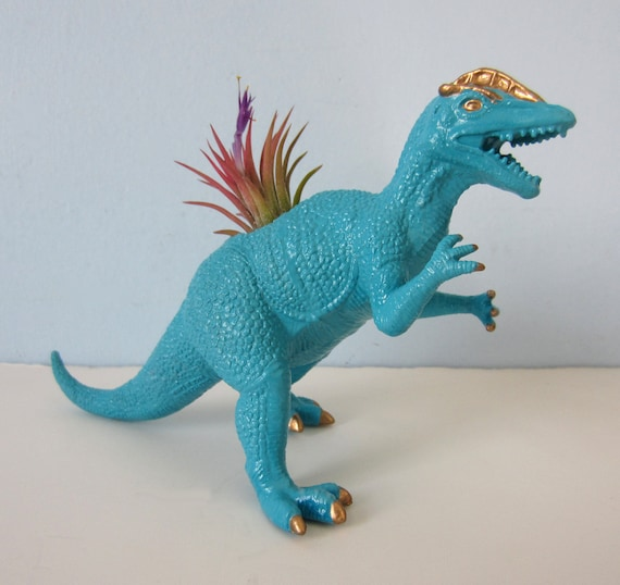 Upcycled Dinosaur Planter - Turquoise and Gold Dilophosaurus with Air Plant