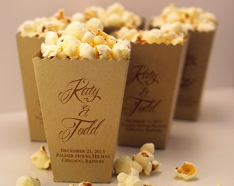 Wedding Favor Box, Mini Popcorn Box - Custom Printed Metallic Paper Box