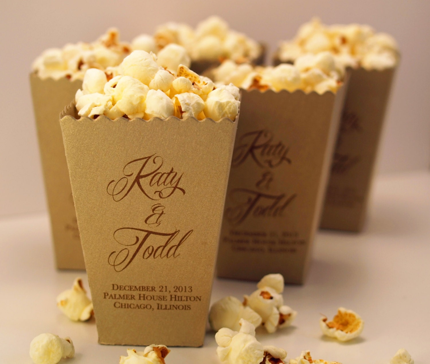 Personalized Wedding Favor Bags And Boxes : Wedding Favor Box Mini Popcorn Box Custom Printed Metallic