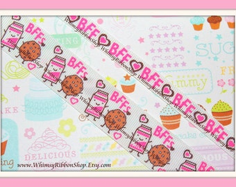 "NEW 4 Yards 3/8 7/8 "" BFF Milk and Cookies w/ Pink Brown hearts on White Grosgrain Ribbon m2mg sewing hairbows food 2 yrd ea"