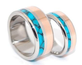 wedding rings, titanium rings, wood rings, mens rings, Titanium Wedding Bands, Eco-Friendly Rings, copper - HUMAN and DIVINE INOX