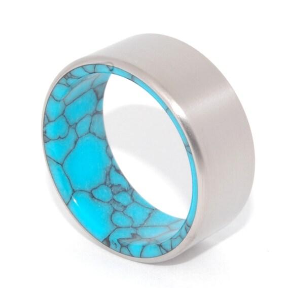 titanium wedding ring turquoise band turquoise ring unique wedding ring mens ring - Turquoise Wedding Rings