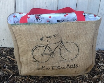 Eco-Friendly Bicycle Design Market Tote Bag, Handmade from a Recycled Coffee Sack