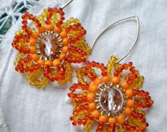 Earrings Orange Flowers Beaded Sunflowers