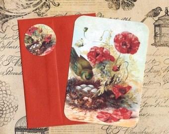 Note Cards w/Seals Nesting Bird Vintage Look