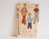 Vintage 1949 Boys Slacks and Shirt Simplicity Pattern 2969 Size 6
