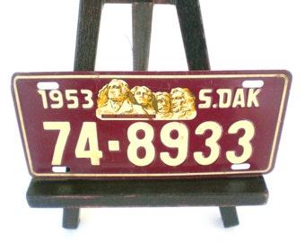 Vintage Bicycle License Plate South Dakota 1953