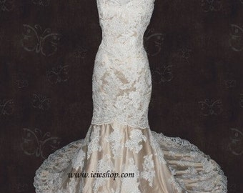 Strapless Sweetheart Ivory Lace Champagne Lining Mermaid Wedding Dress | Lace Wedding Dress | Vintage Wedding Dress