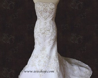 Strapless Embroidered Fit and Flare Mermaid Wedding Gown
