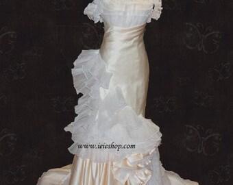 Runway Style Mermaid Wedding or Formal Gown with Organza Ruffles