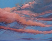 Sunrise Oil Painting- Original Cloud Art on Canvas- Water-Based Oils- Pink and Blue- 24x30-  Free US Shipping