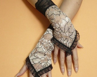 Gloves with Finger Loop, Beige Gauntlets with Black Lace, Vampire Wedding, Gothic Baroque, fingerless, Applique, Victorian
